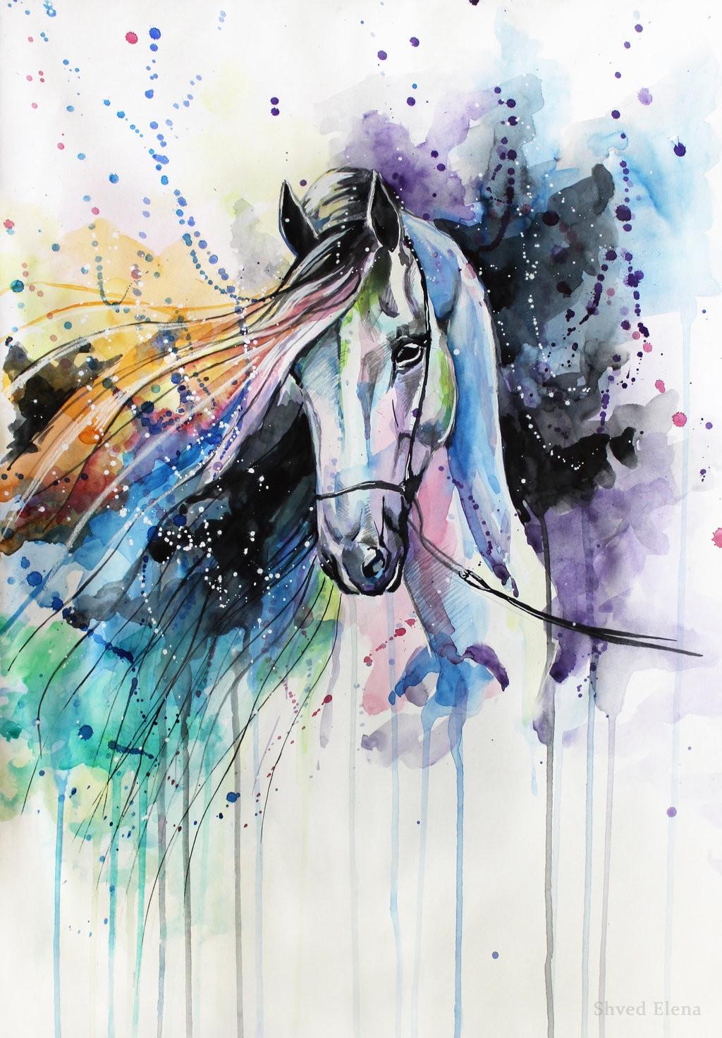 Painting equestrian illustration by elena shved pegasebuzz le cheval contemporain for Peindre sur du plastique